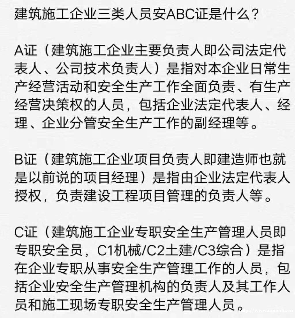陕西省四个考点建筑施工企业三类人员,安A,安B,安C